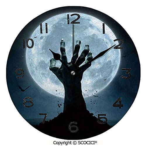 - SCOCICI 10 Inch Round Face Silent Wall Clock Zombie Earth Soil Full Moon Bat Horror Story October Twilight Themed Unique Contemporary Home and Office Decor