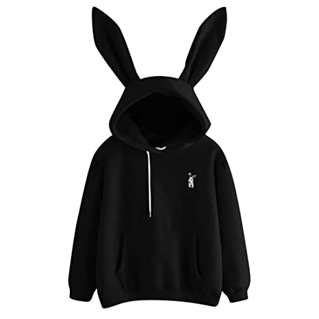ZJSWCP Sweatshirt New Casual Womens Long Sleeve Rabbit Hoodie Sweatshirt Pullover Tops Blouse Women Sweatshirt Harajuku