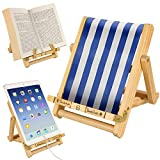 Book Stand, iPad and Tablet Holder, Adjustable Rest for eReader, Cookbook or Novel. Perfect for Gifts, Reading in Bed, Home, or Kitchen - Blue & White