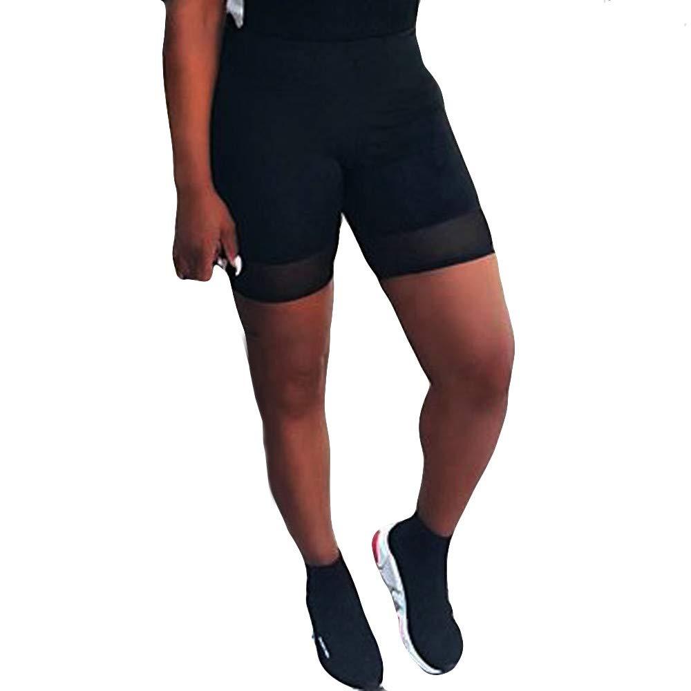NRUTUP Women Plus Size High Elasticity Spliced Grenadine Shorts Gym Active Pants(Black,S)