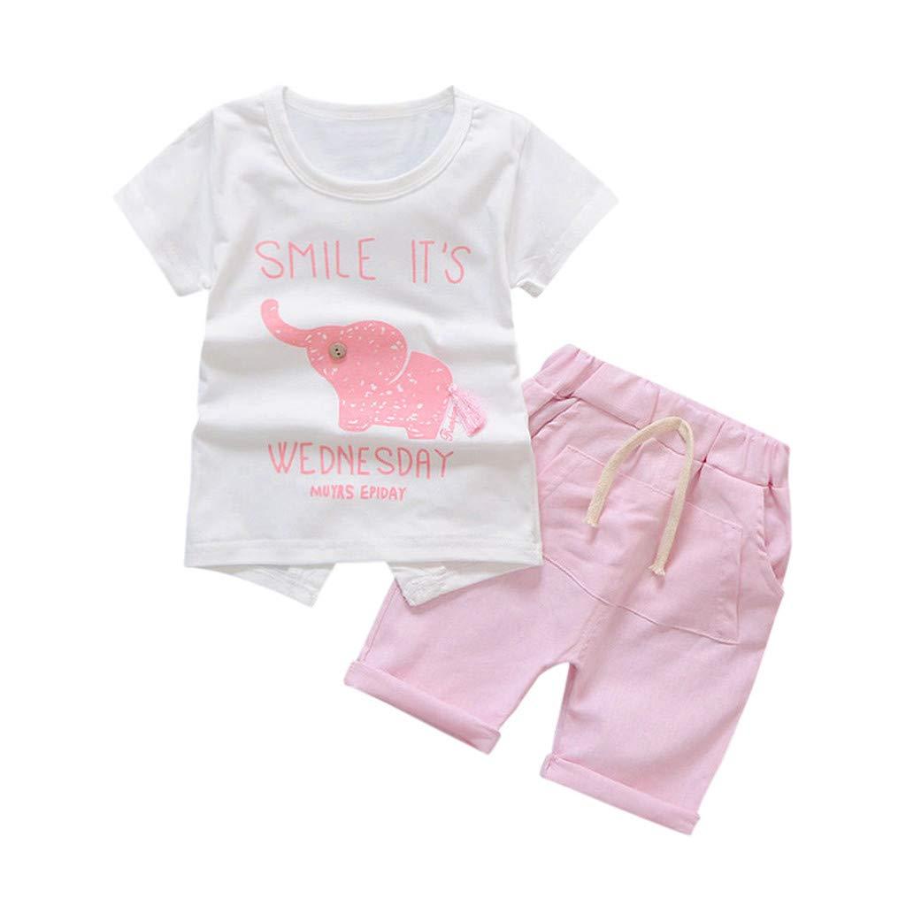 Fineser Toddler Infant Baby Girls Summer Short Sleeve Smile Print T-Shirt Denim Shorts Set