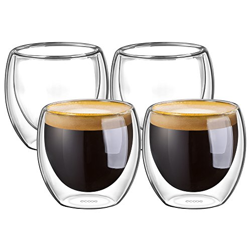 Ecooe Double Wall Espresso Cups 80 Milliliter/2.73 Ounce, Set of 4