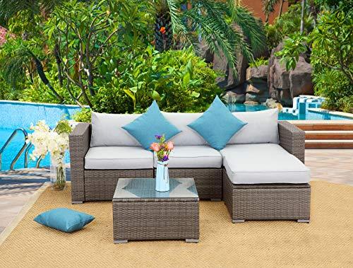 Wisteria Lane 5 PCS Outdoor Patio PE Rattan Wicker Sofa with Ottoman Sectional Furniture Convers ...
