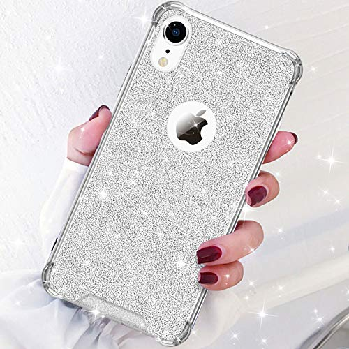 (DAUPIN Compatible for iPhone XR Phone Case Protective Defender Thin Slim Cases Clear Bling Glitter Shockproof Cover for Women Girls for iPhone XR 6.1 inch (Silver))