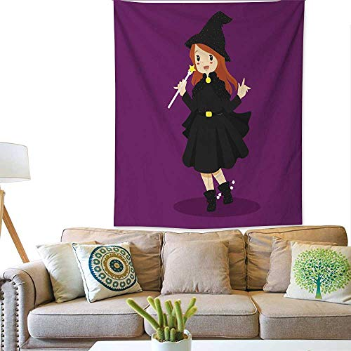 BlountDecor Colorful Tapestry Halloween Witch Costume 57W x 74L INCH -