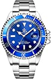REGINALD Men's Luminous Watch Rotatable Bezel Sapphire Glass Blue Dial Stainless Steel Quartz Watches 40M