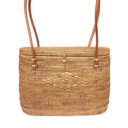Large Lidded Maureen Bali Tote, Woven Bag, Woven Tote, Straw Bag, Shoulder Bag, True Tropic