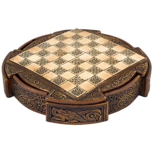 Chess Inch Set 9 - Isle Of Lewis Compact Celtic Chess Set 9 Inches
