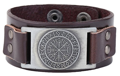 Vintage Nordic Viking Rune Vegvisir Compass Charm Cuff Bracelet For Men/Women Gift Jewelry (brown wristband antique silver)
