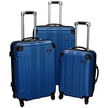 Kemyer 650 Lightweight 3-PC Expandable Hardside Spinner Luggage Spinner Set (Blue)