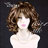 Lovely Short Wig Curly Blonde mix Auburn Summer Style Skin Top Ladies Wigs UK