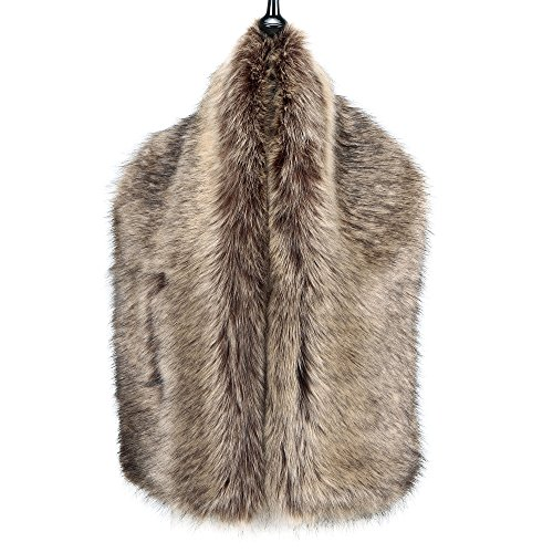 Caracilia Women Winter Scarf Wrap Faux Fur Collar Shawl Shrug Brown 120CA97 by Caracilia (Image #3)