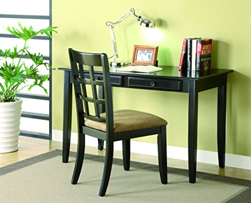 Coaster 2pc Home Office Writing Desk and Chair in Black Finish by Coaster Home Furnishings