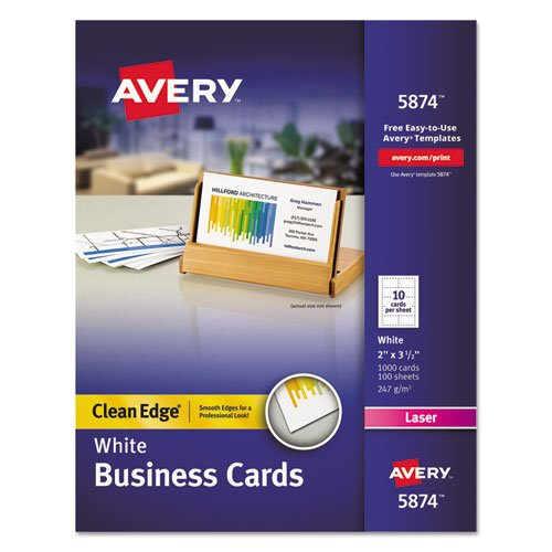 Two-Side Printable Clean Edge Business Cards, Laser, 2 x 3 1/2, White, 1000/Box, Sold as 1000 Each