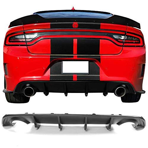 Rear Diffuser Fits 2015-2019 Dodge Charger | Matte Black Rear Lip Bumper Valance Diffuser by IKON MOTORSPORTS | 2016 2017 2018