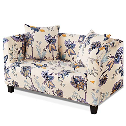 HOTNIU 1-Piece Stretch Sofa Couch Covers - Spandex Printed Loveseat Couch Slipcovers - Arm-Chair Furniture Cover/Protector with Elastic Bottom and Straps, Anti-Slip Foams (Chair, Pattern #43)