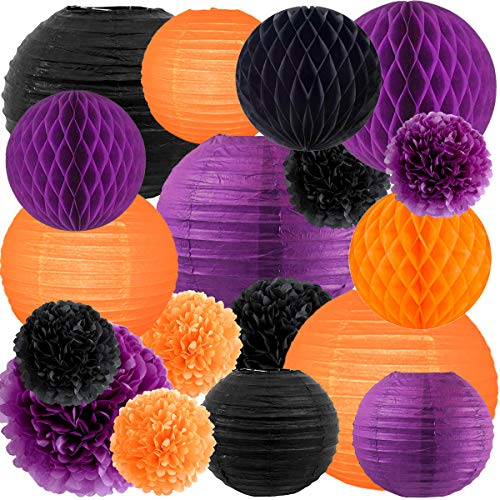 NICROLANDEE Halloween Party Decorations Orange Black Purple Color Tissue Pom Pom Lantern Honeycomb Ball Decorations for Birthday Home Decor Horror Party Supplies