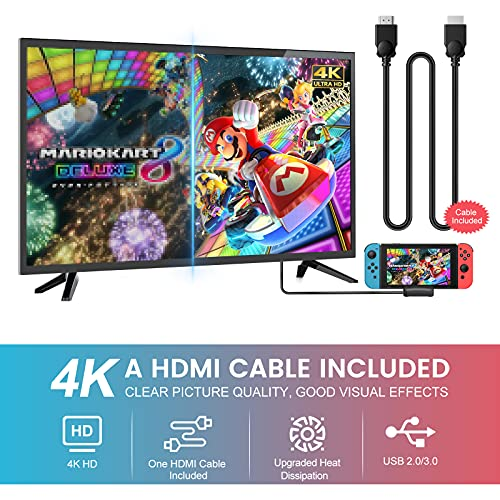 Switch TV Dock with 4K HDMI Cable - Younik Portable Switch Dock for NS, PD Protocol Avoids Brick, Switch Docking Station with 1.8m HDMI Cable, Cooling Fan and USB 3.0 Port