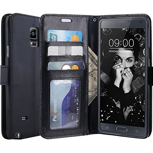 LK Note 4 Case, Galaxy Note 4 Wallet Case, Luxury PU Leather Case Flip Cover with Card Slots and Stand for Samsung Galaxy Note 4, Balck (Samsung Galaxy Note 4 Wallet Case)