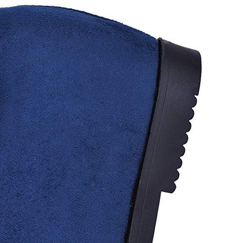 Sin Redonda Mujeres Agoolar Medio Gamuza Sólido Botas Azul Cordones Tacón imitado Puntera dpq8fSqw