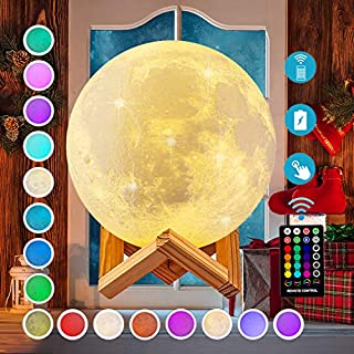 DTOETKD Moon Light Lamp – 16 Colors – 3D Moon Light – Timing, Led, Night Lights for Kids, Remote & Touch Control Brightness USB Rechargeable with Stand, Birthday Gifts for Baby Girls Boys Friends Women