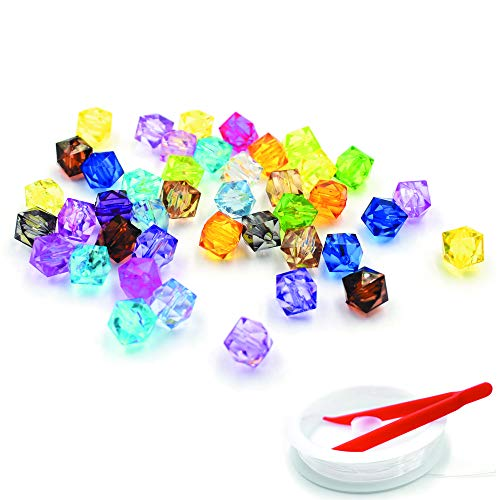 Cube Mini Beads (HZOnline Acrylic Square Beads Transparent Plastic Mix-Color Dispersed Loose Beads for DIY Handcrafted Making Jewelry Bracelet Kids' Educational Handmade Gift (500PCS 10X10mm))