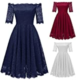 Scaling❤ Women Dress,Women Vintage Off Shoulder Princess Princess Wedding Dress Floral Lace Cocktail Party Dress (Blue, s)