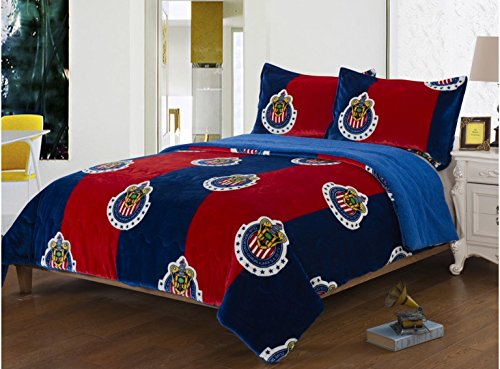 JORGE'S HOME FASHION CLUB CHIVAS DE GUADALAJARA ORIGINAL MEXICAN SOCCER BLANKET WITH SHERPA VERY SOFTY THICK AND WARM 2 PCS TWIN SIZE by JORGE'S HOME FASHION