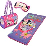 3-Piece Disney Minnie Mouse Kids Sleepover Set with Sleeping Bag and Bonus Eye Mask Made of Polyester