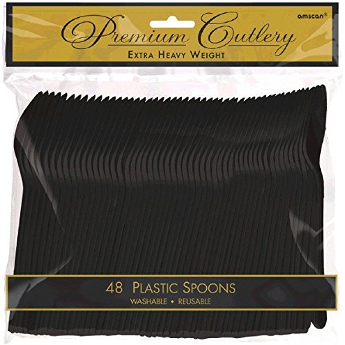 Amscan 8011.1 Premium Heavy Weight disposable-spoons, Full Size, Black]()