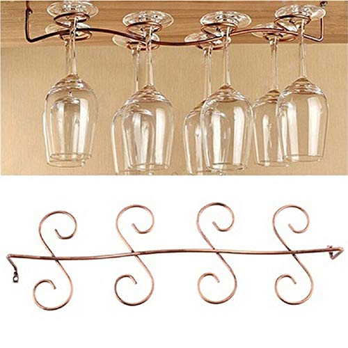 DBYAN Under Cabinet Wine Glass Rack Stemware Holder,Vintage Style Bronze 8 Glasses Stainless Steel Wall-Mounted Hanging Wine Glass Hanger For Bar Home Cafe ()