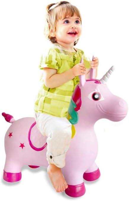 Jamara 460316 - Unicornio colorido animal saltarín con bomba - Orejas como soporte