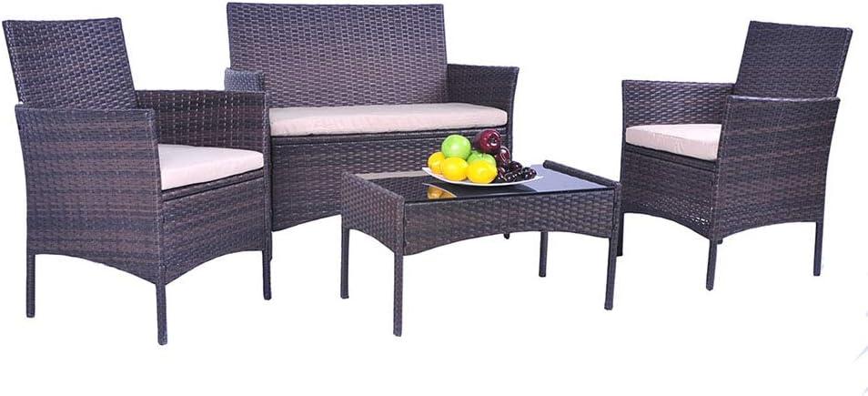 UFI 4 Pieces Outdoor Patio Furniture Sets Rattan Chair Wicker Set Use Backyard Porch Garden Poolside Balcony RTA Furniture Black