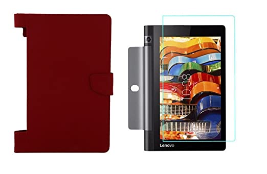 Colorcase Tablet Flip Cover Case for Lenovo Tab 3 Yoga 8.0  YT3 850F     Red  with Tempered Glass  Combo Set  Bags,Cases   Sleeves