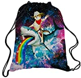 TUONROAD Childrens Travel Hiking School Drawstring Backpack 3d Custom Prints Lightweight Cowboy Cat with Colorful Rainbow Shark Navy Blue Maroo Galaxy Universe Space Personalized String Sack Pack
