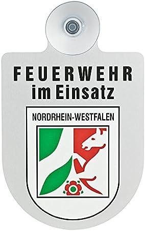 Paco Deutschland E K Feuerwehr Im Einsatz Kfz Aluschild Mit Saugnapf Und Bundesland Wappen Nordrhein Westfalen Auto