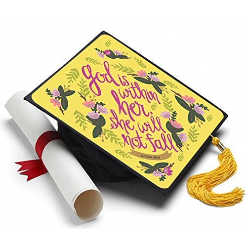 Tassel Toppers Psalm 46:5 Graduation Cap Decorated Grad Caps - Decorating Kits -