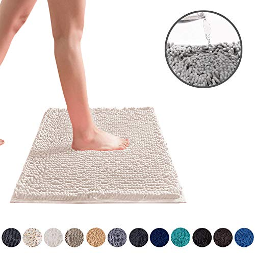 DEARTOWN 24x39 Inchs Bathroom Rug Carpet, Non-Slip Quick Drying Bath Mat with Water Absorbent Soft Microfibers Rugs (24x39 Inches, White)
