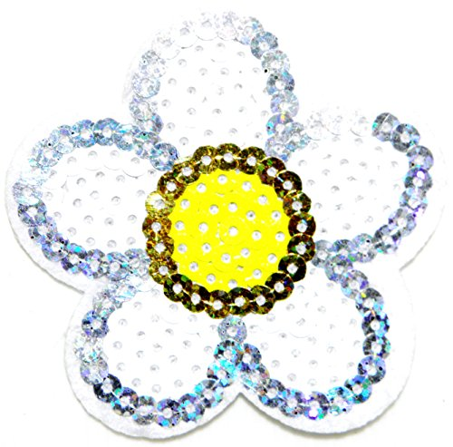 - Daisy Flower Sequin Shine Shiny Patch Sew Iron on Embroidered Applique Craft Handmade Baby Kid Girl Women Sexy Lady Hip Hop Cloths DIY Costume (white)