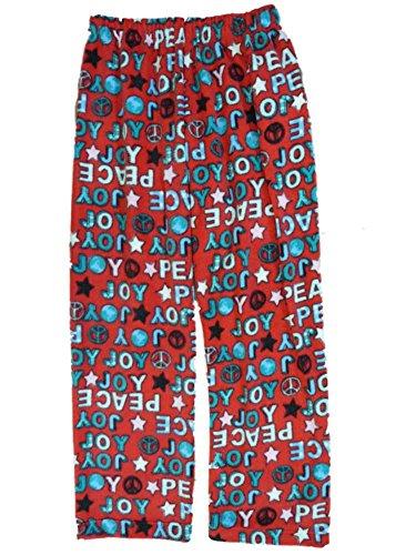 Girls Red Holiday Fleece Sleep Pants Peace & Joy Pajama Bottoms Lounge M