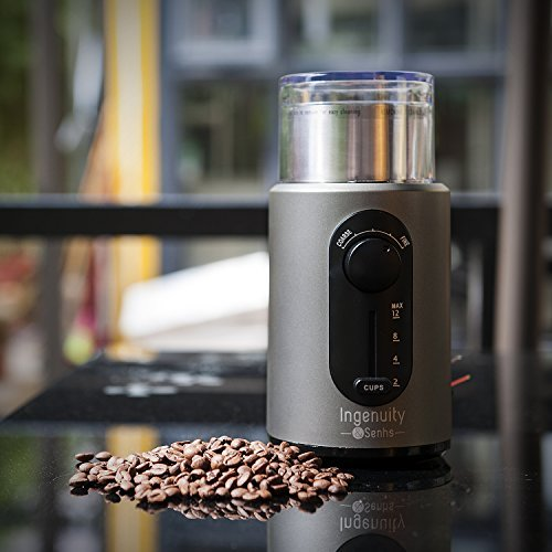 Ingenuity & Senhs Electric Coffee Grinder Multifunction Spice Grinder with Stainless Steel Blades and Removable Cup, 12 Cups, 200 Watt, 110V