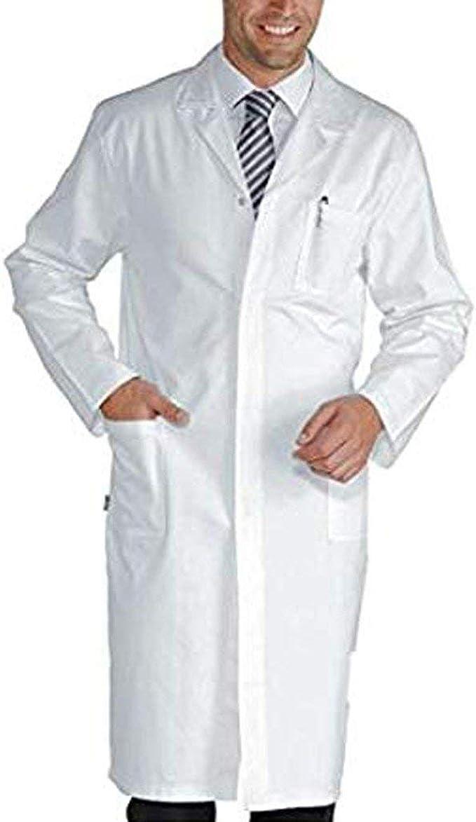 Bata de Laboratorio Médico Abrigo de Mujer Hombre Abrigo Blanco para Damas Adecuado para Estudiantes de Escuela Laboratorio de Ciencia Enfermera Cosplay Vestido de algodón Bata Blanca: Amazon.es: Ropa y accesorios