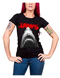 Jaws T Shirt Poster new Official Womens Skinny Fit Black