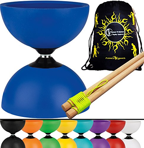 Henrys JAZZ Diabolo Set With Basic WOODEN Handsticks + Travel Bag! Quality Rubber Fixed-Axle Diablo for Pros and Kids Alike! (Green) ()