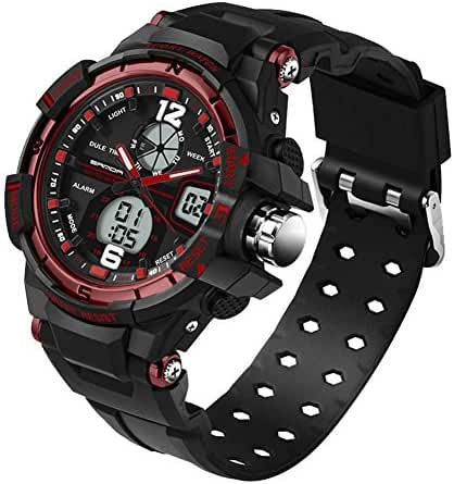 5 ATM Multi-function Junior's Students Quartz Outdoor Sports Digital Dual Time Waterproof Watches Black Red Ages 11-20