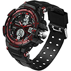 5 ATM Multi-function Junior's Students Quartz Outdoor Sports Digital Dual Time Watches Black Red Ages 11-20