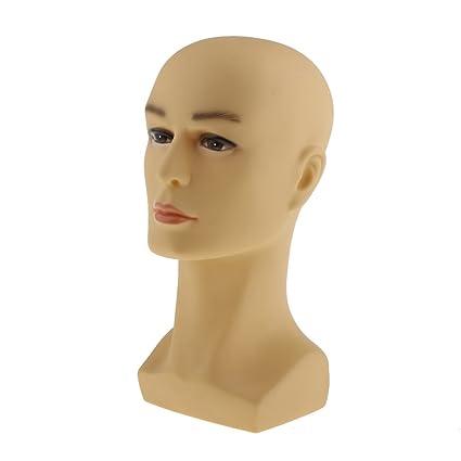 MagiDeal Cabeza Maniquí de Hombre Modelo de Exhibición de Joyería Sombrero Peluca - Amarillo