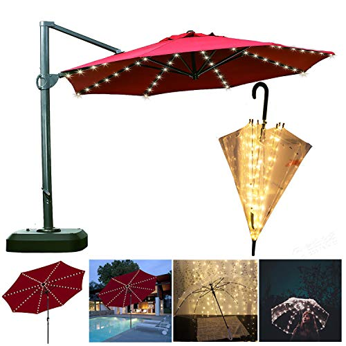 Areskey Umbrella String Lights,104 LEDs Warm White Starry Lights Battery Operated for Patio Umbrella, Bubble Umbrella, Bistro Pergola Deckyard Tents Cafe Garden Travel Party, 8 Modes Remote Control (Two Bright Lights In The Sky Tonight)