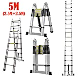5M / 2.5M+2.5M Telescoping Ladder Aluminum Extension Steps A-Frame Folding with Hinges 330lb