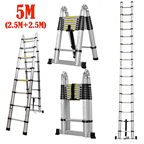 5M / 2.5M+2.5M Telescoping Ladder Aluminum Extension Steps A-Frame Folding with Hinges 330lb Max Load for Outdoor Indoor DIY Roof Work Compact Easy Storage